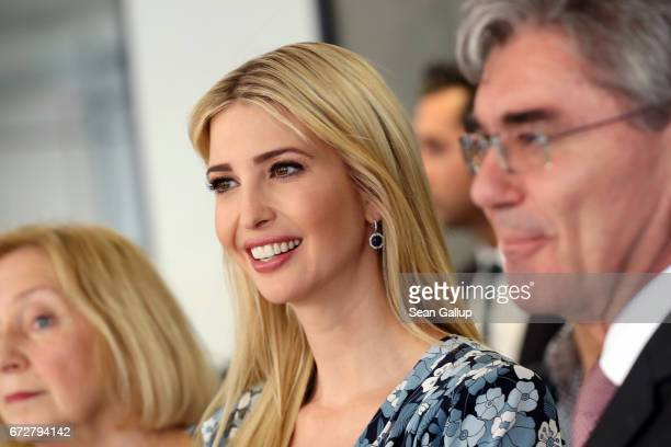 Ivanka Trump daughter of US President Donald Trump meets CEO Siemens Joe Kaeser at the Siemens mechantronic factory on April 25 2017 in Berlin...