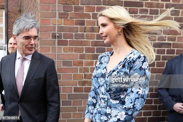Ivanka Trump daughter of US President Donald Trump meets CEO Siemens Joe Kaeser at the Siemens mechantronic factory on April 25 2017 in Berlin...