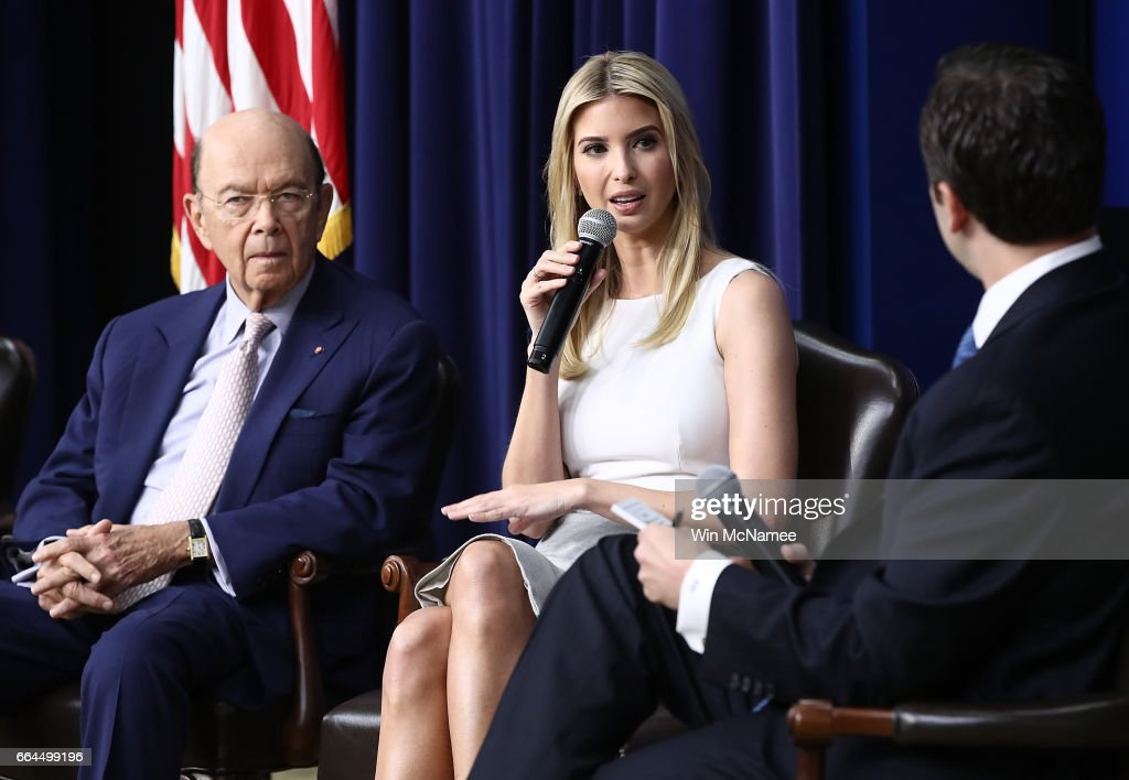 Ivanka Trump delivers remarks during an event at the Eisenhower Executive Office Building April 4, 2017 in Washington, DC. U.S. President Donald Trump also delivered remarks and answered questions from the audience during a town hall event with CEO's on the American business climate. Also pictured are U.S. Commerce Secretary Wilbur Ross (L) and Reed Cordish (R), from the Office of American Innovation.