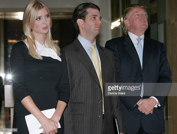 Ivanka Trump Donald Trump Jr and Donald Trump of Trump Enterprises pose at the press conference announcing the Donald Trump Luxury Hotel Condominium...