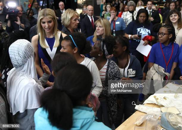 Ivanka Trump greets female students highlighting the study of Science Technology Engineering and Mathematics while touring The Smithsonian Air and...
