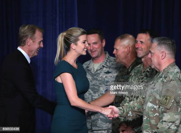 Ivanka Trump greets US military leaders before a speech by President Donald Trump on Americas involvement in Afghanistan at the Fort Myer military...
