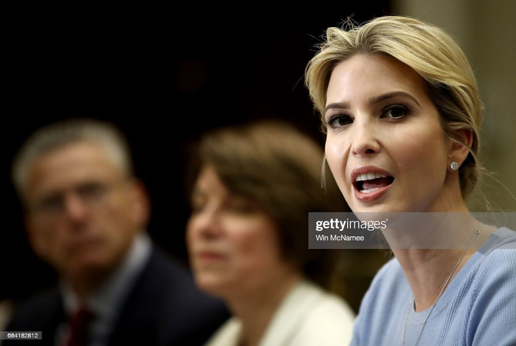 Ivanka Trump leads a meeting on human trafficking in the Roosevelt Room of the White House May 17, 2017 in Washington, DC. Ivanka Trump has made human trafficking issues as well as educational issues central to her role at the White House.