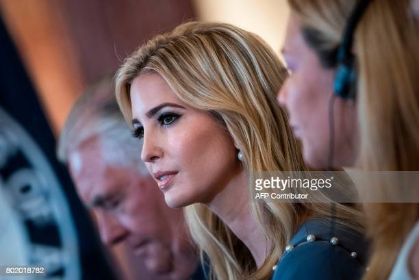 Ivanka Trump listens during an event about the 2017 Human Trafficking Report at the US State Department June 27 2017 in Washington DC US President...