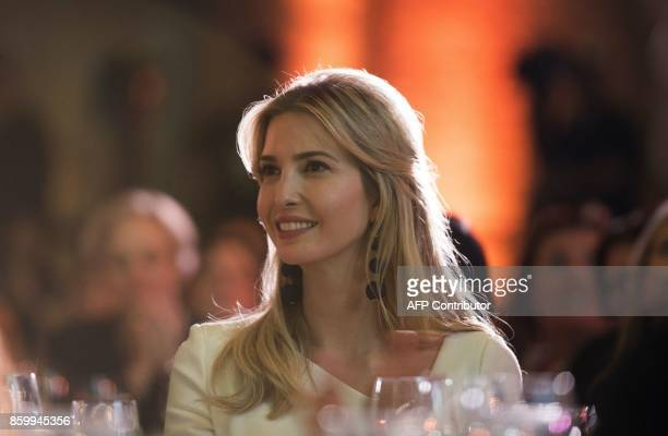 Ivanka Trump listens to Canadian Prime Minister Justin Trudeau speak at a discussion at the 2017 Fortune Most Powerful Women Summit in Washington DC...
