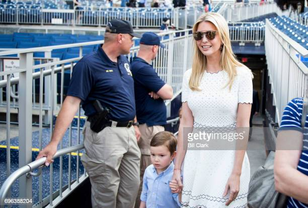 Ivanka Trump makes her way to the field before the start of the annual Congressional Baseball Game at Nationals Park in Washington on Thursday June...