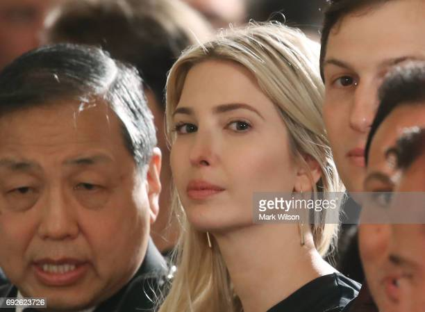 Ivanka Trump sits with guests attending an event where her father US President Donald Trump announced the modernization of the nation's air traffic...