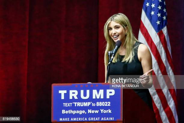 Ivanka Trump speaks before the arrival of her father US Republican presidential candidate Donald Trump during a rally in Bethpage Long Island New...