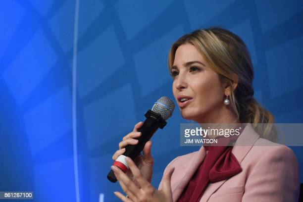 Ivanka Trump speaks during a session named 'Taking womenowned businesses to the next level' at the World Bank and International Monetary Fund annual...