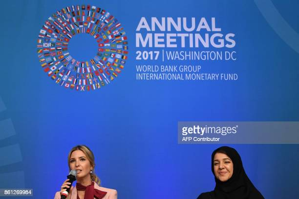 Ivanka Trump speaks next to Reem al Hashimy the United Arab Emirates Minister of State for International Cooperation as she attends a session named...