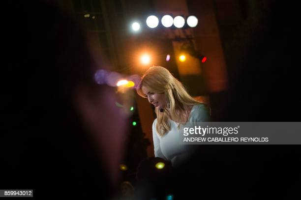 Ivanka Trump speaks with High school students after a discussion at the 2017 Fortune Most Powerful Women Summit in Washington DC on October 10 2017 /...