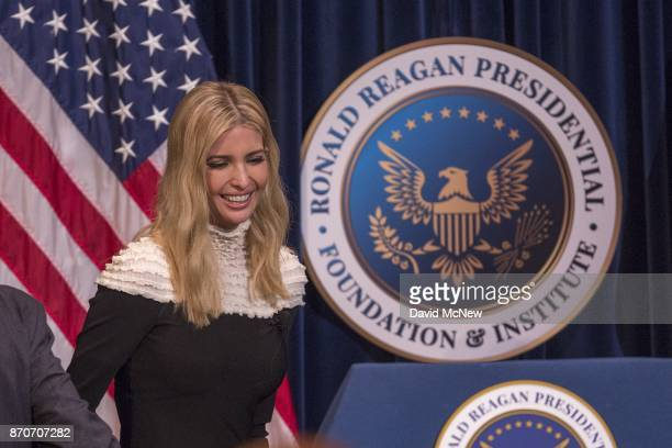 Ivanka Trump steps to the podium at the Ronald Reagan Presidential Library where she talked about tax cuts and reform on November 5 2017 in Simi...