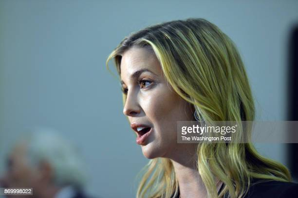 WASHINGTON DC SEPTEMBER Ivanka Trump talks with the media after part of her family staged an architectural and design unveiling of the planned Trump...