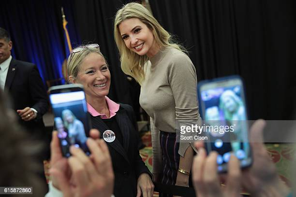 Ivanka Trump the daughter of Republican presidential candidate Donald Trump greets guests while making a campaign stop for her father on October 20...