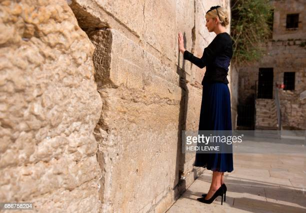 Ivanka Trump the daughter of US President Donald Trump prays at the Western Wall the holiest site where Jews can pray in Jerusalems Old City on May...