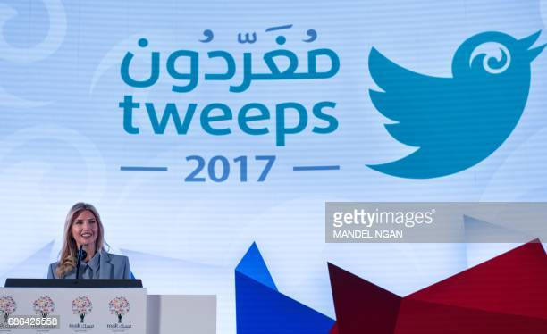 Ivanka Trump the daughter of US President Donald Trump speaks at in the Tweeps 2017 social media forum at a hotel in Riyadh on May 21 2017 / AFP...