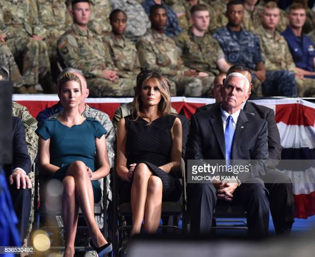 Ivanka Trump US First Lady Melania Trump and US Vice President Mike Pence listen to US President Donald Trump addressing the nation at Joint Base...