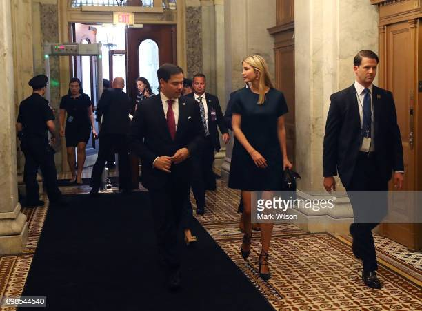 Ivanka Trump walks with Sen Marco Rubio to a meeting with Senators regarding paid family leave at US Capitol on June 20 2017 in Washington DC
