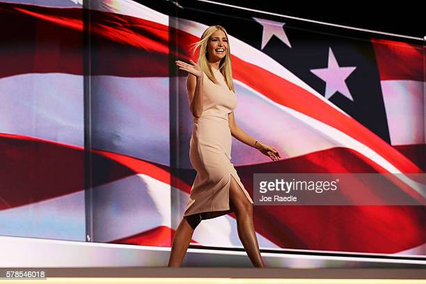 Ivanka Trump waves to the crowd as she walks on stage to deliver a speech during the evening session on the fourth day of the Republican National...