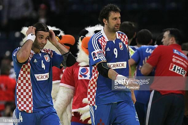 Ivano Balic and Igor Vori Igor Vori look thoughtful after the Men's European Handball Championship bronze medal match between Croatia and Spain at...