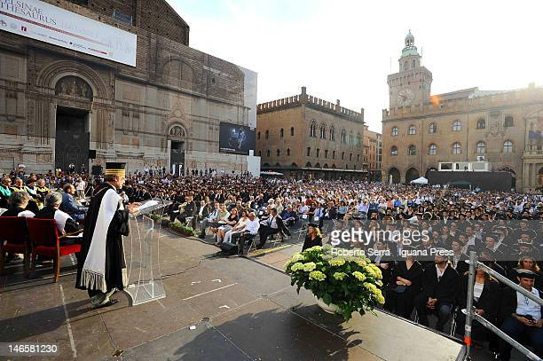 Ivano Dionigi Rector of the University of Bologna attends the University of Bologna ceremony of proclamation of 470 PhD of research in Piazza...