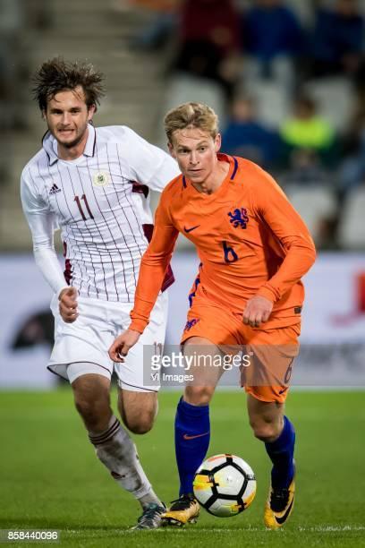Ivanovs Nikita of Jong Letland Frenkie de Jong of Jong Oranje during the EURO U21 2017 qualifying match between Netherlands U21 and Latvia U21 at the...