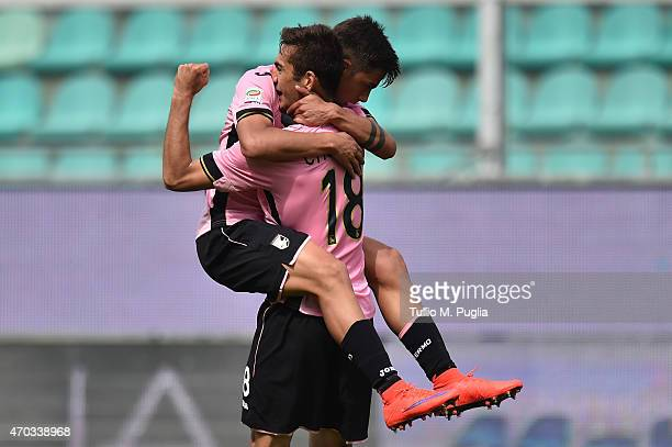 Ivaylo Chochev of Palermo celebrates with Paulo Dybala after scoring his second goal during the Serie A match between US Citta di Palermo and Genoa...