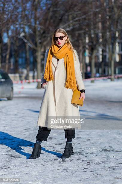 Ivea Ukanyte outside Lena Hoschek during the MercedesBenz Fashion Week Berlin Autumn/Winter 2016 at Brandenburg Gate on January 19 2016 in Berlin...
