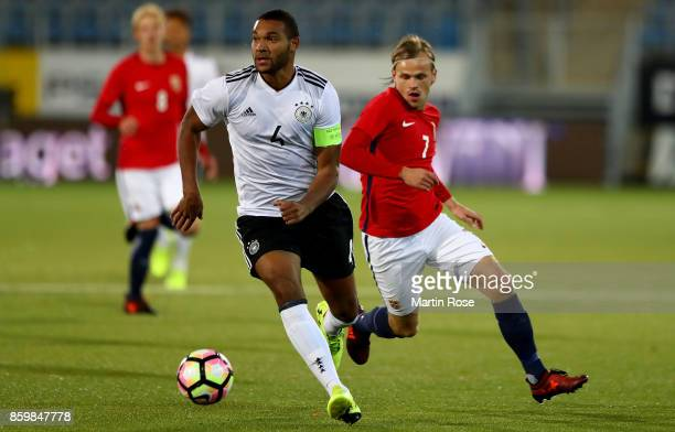 Iver Fossum of Norway and Jonathan Tah of Germany battle for the ball during the UEFA Under21 Euro 2019 Qualifier match between U21 of Norway and U21...