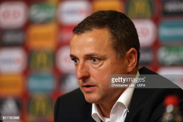 Ives Serneels head coach of Belgium talks to the media in the pres sconference during the UEFA Women's Euro 2017 Group A match between Belgium and...