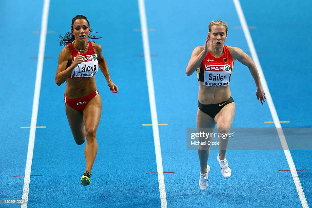 <a gi-track='captionPersonalityLinkClicked' href=/galleries/search?phrase=Ivet+Lalova&family=editorial&specificpeople=2353598 ng-click='$event.stopPropagation()'>Ivet Lalova</a> of Bulgaria and <a gi-track='captionPersonalityLinkClicked' href=/galleries/search?phrase=Verena+Sailer&family=editorial&specificpeople=740560 ng-click='$event.stopPropagation()'>Verena Sailer</a> of Germany compete in the Women's 60m heats during day two of the European Athletics Indoor Championships at Scandinavium on March 2, 2013 in Gothenburg, Sweden.