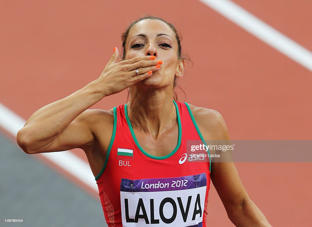 <a gi-track='captionPersonalityLinkClicked' href=/galleries/search?phrase=Ivet+Lalova&family=editorial&specificpeople=2353598 ng-click='$event.stopPropagation()'>Ivet Lalova</a> of Bulgaria blows a kiss after competing in the Women's 100m Round 1 Heats on Day 7 of the London 2012 Olympic Games at Olympic Stadium on August 3, 2012 in London, England.