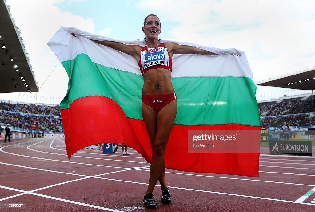 Ivet Lalova of Bulgaria celebrates winning the Women's 100 Metres Final during day two of the 21st European Athletics Championships at the Olympic...