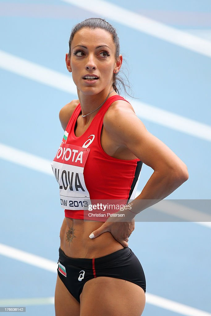 Ivet Lalova of Bulgaria competes in the Women's 200 metres heats during Day Six of the 14th IAAF World Athletics Championships Moscow 2013 at...