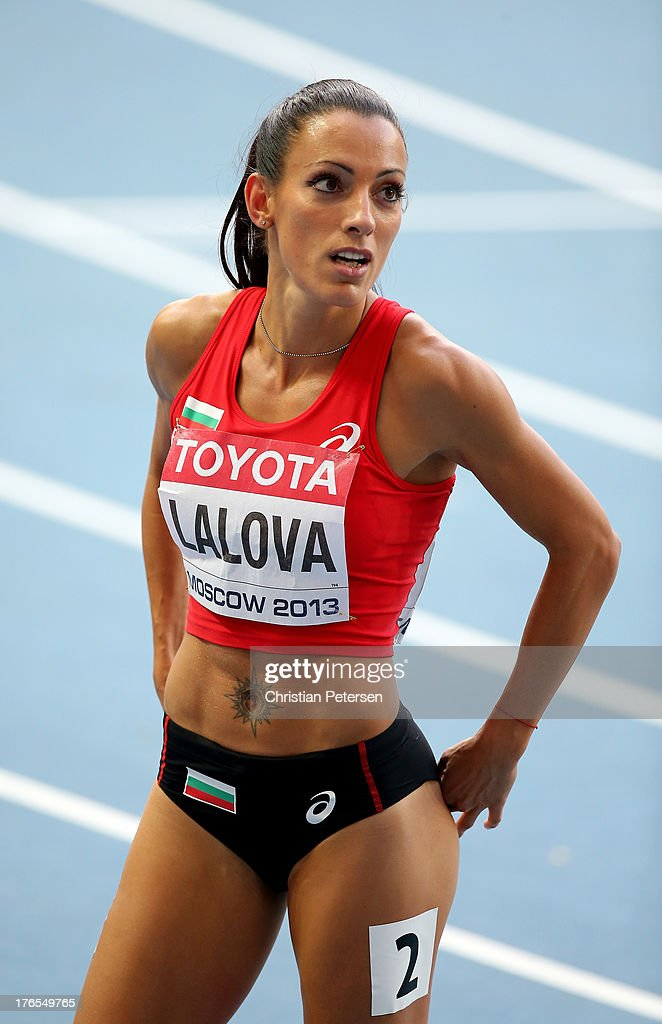 Ivet Lalova of Bulgaria competes in the Women's 200 metres semi finals during Day Six of the 14th IAAF World Athletics Championships Moscow 2013 at...
