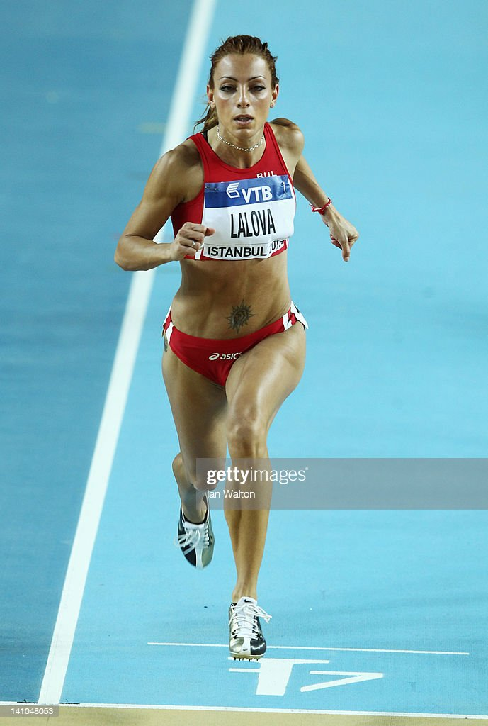 Ivet Lalova of Bulgaria competes in the Women's 60 Metres first round during day two of the 14th IAAF World Indoor Championships at the Atakoy...