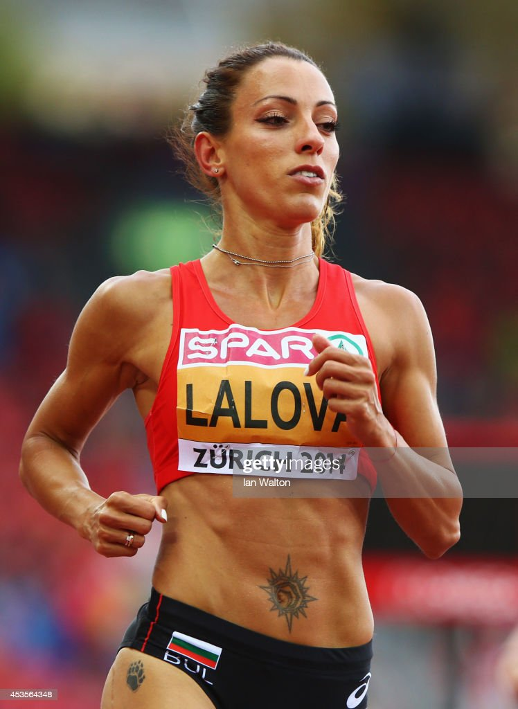 <a gi-track='captionPersonalityLinkClicked' href=/galleries/search?phrase=Ivet+Lalova&family=editorial&specificpeople=2353598 ng-click='$event.stopPropagation()'>Ivet Lalova</a> of Bulgaria looks on after competing in the Women's 100 metres semi-final during day two of the 22nd European Athletics Championships at Stadium Letzigrund on August 13, 2014 in Zurich, Switzerland.