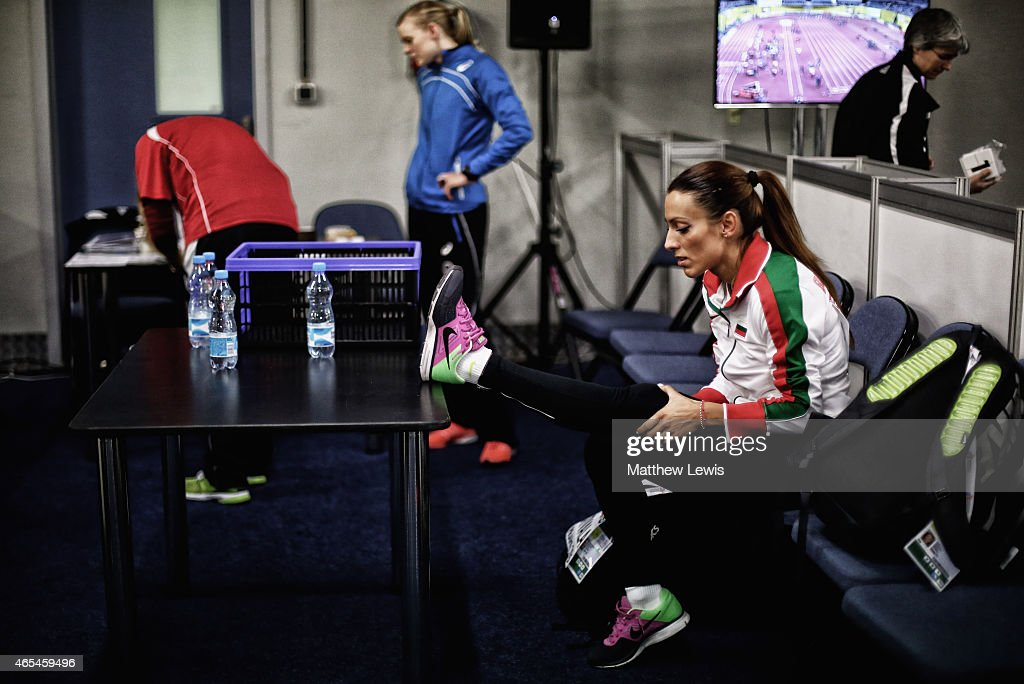 <a gi-track='captionPersonalityLinkClicked' href=/galleries/search?phrase=Ivet+Lalova&family=editorial&specificpeople=2353598 ng-click='$event.stopPropagation()'>Ivet Lalova</a> of Bulgaria warms upaead of the Womens 60m heats during day two of the 2015 European Athletics Indoor Championships at O2 Arena on March 7, 2015 in Prague, Czech Republic.