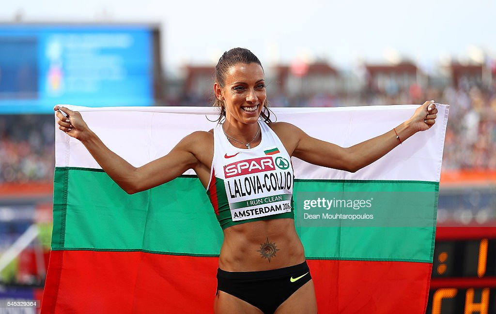 Ivet LalovaCollio of Bulgaria celebrates after winning a silver medal in the final of the womens 200m on day two of The 23rd European Athletics...