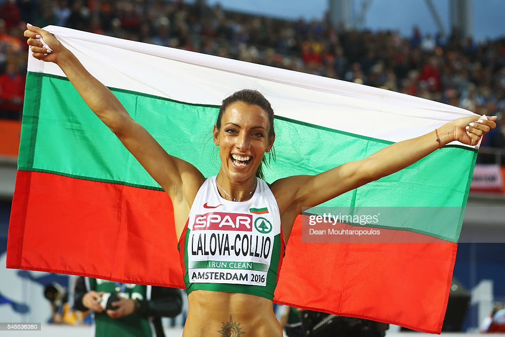 Ivet LalovaCollio of Bulgaria celebrates after winning silver in the final of the womens 100m on day three of The 23rd European Athletics...