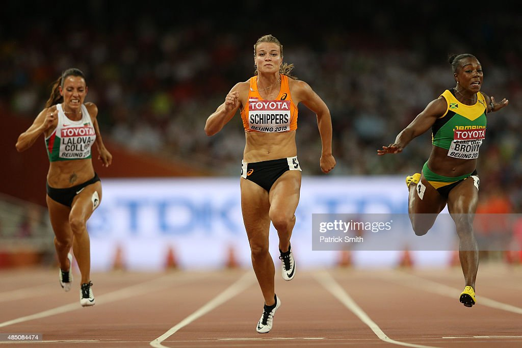 Ivet LalovaCollio of Bulgaria Dafne Schippers of the Netherlands and Veronica CampbellBrown of Jamaica cross the finish line in the Women's 100...