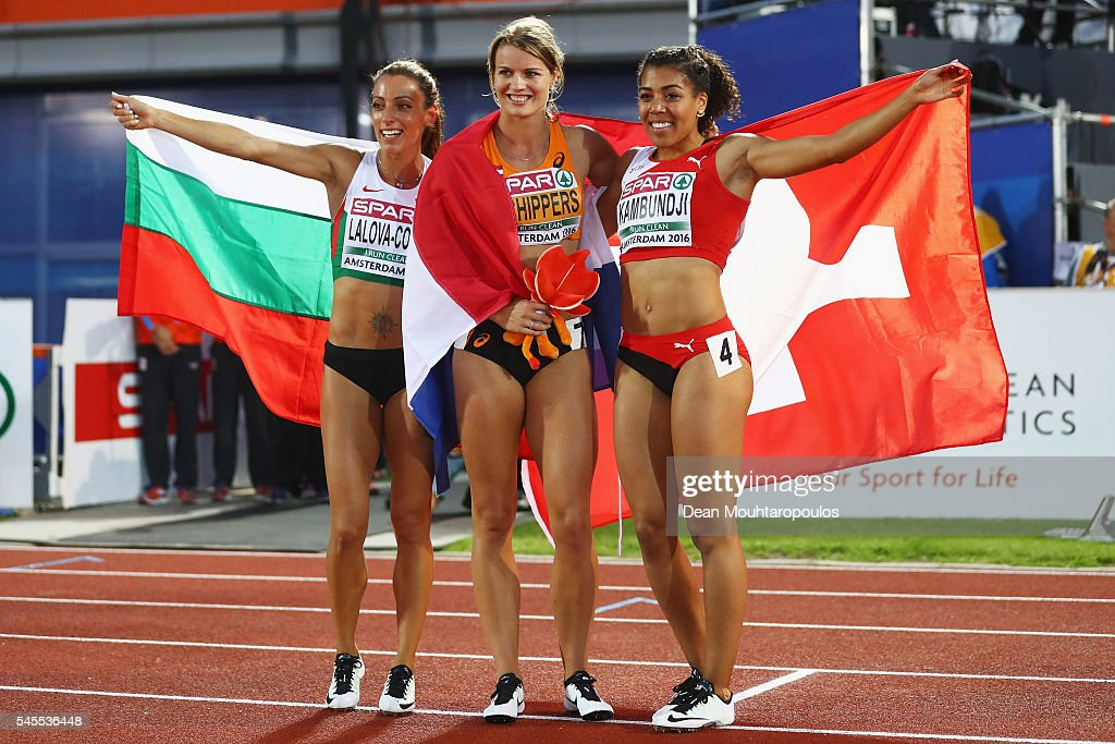 Ivet LalovaCollio of Bulgaria Dafne Schippers of The Netherlands and Mujinga Kambundji of Switzerland pose for a picture after winning medals in the...