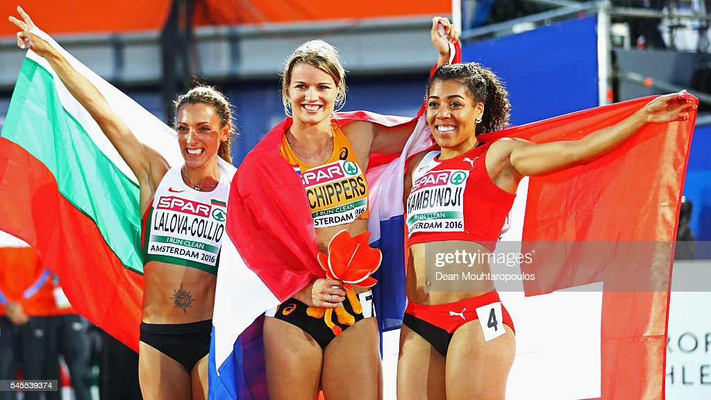 Ivet LalovaCollio of Bulgaria Dafne Schippers of The Netherlands and Mujinga Kambundji of Switzerland celebrate winning medals in the final of the...