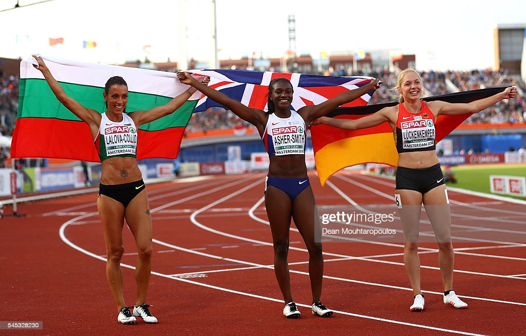 Ivet LalovaCollio of Bulgaria Dina AsherSmith of Great Britain and Gina Luckenkemper of Germany celebrate after finishing in medal positions in the...