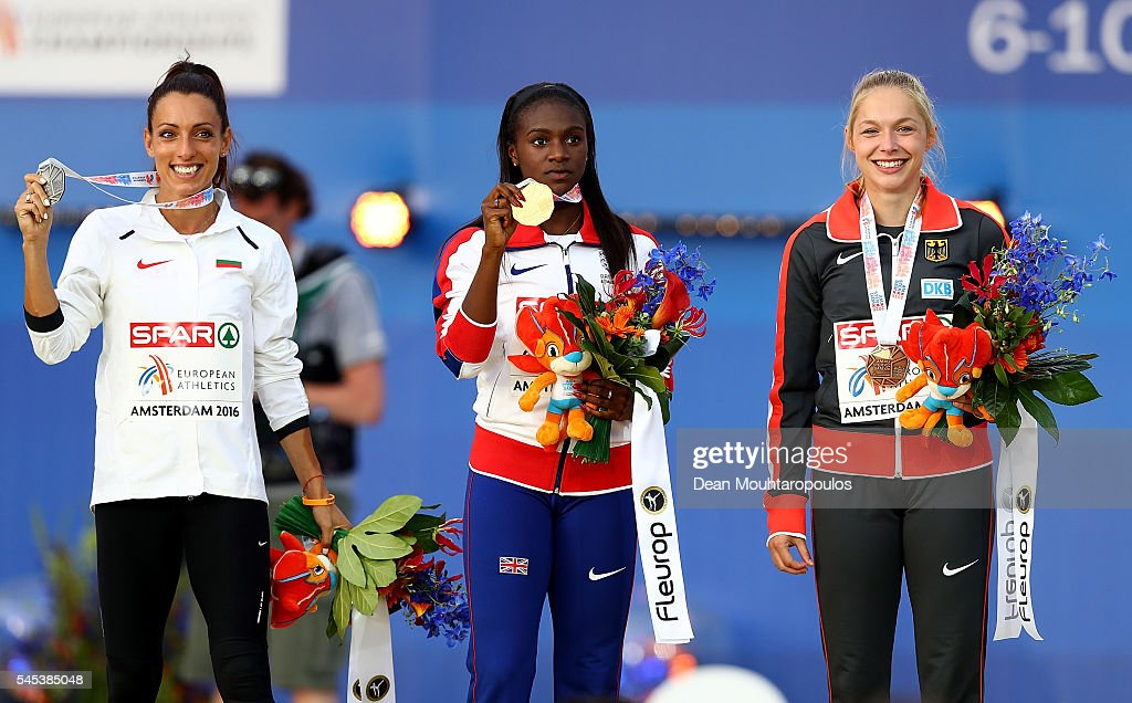Ivet LalovaCollio of Bulgaria Dina AsherSmith of Great Britain and Gina Luckenkemper of Germany pose for a picture on the podium after receiving...
