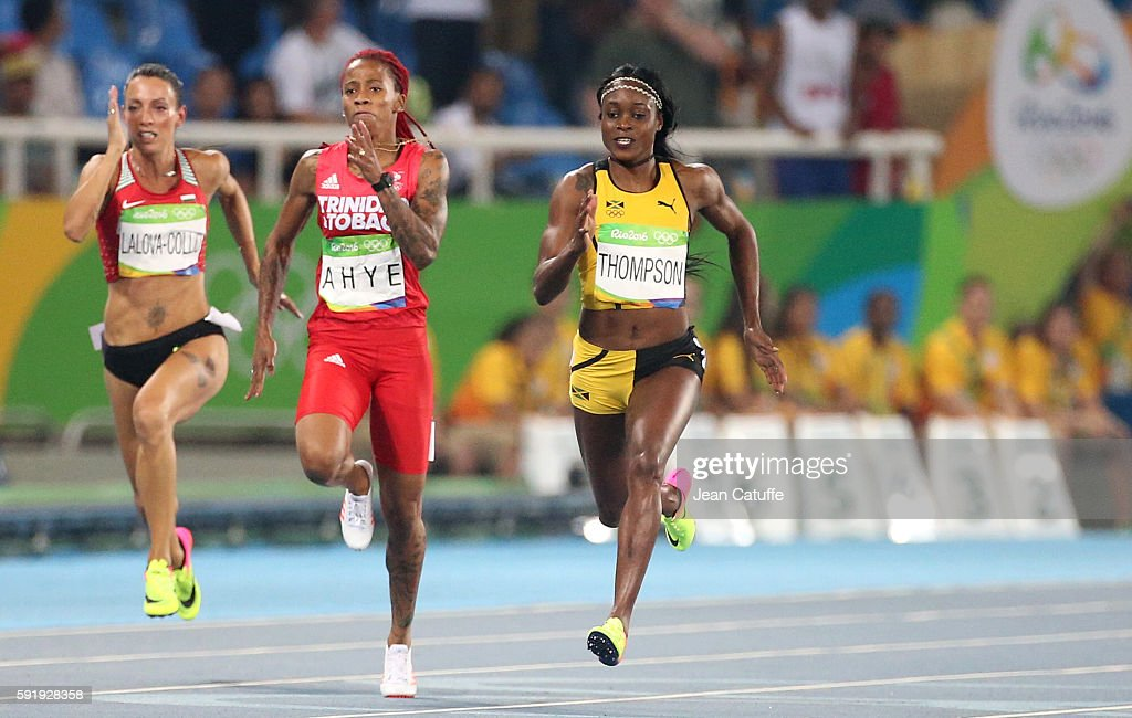Ivet LalovaCollio of Bulgaria MichelleLee Ahye of Trinidad and Tobago and Elaine Thompson of Jamaica compete in the Women's 200m final on day 12 of...