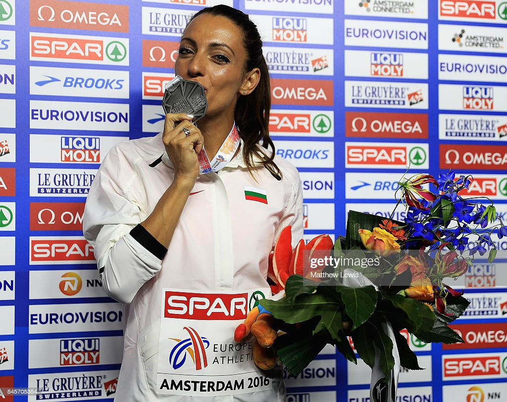 Ivet LalovaCollio of Bulgaria pictured with her silver medal from the Womens 100m Final during day four of the 23rd European Athletics Championships...