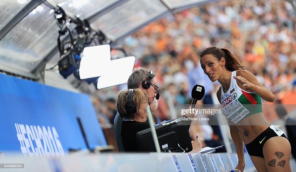 Ivet LalovaCollio of Bulgaria talks to media after coming second inthe womens 200m Final during day two of the 23rd European Athletics Championships...