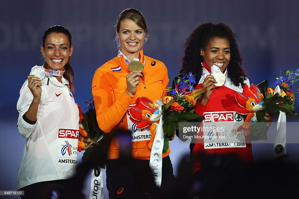 Ivet LalovaCollio of Portugal Dafne Schippers of The Netherlands and Mujinga Kambundi of Switzerland pose on the podium after receiving their medals...