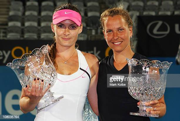 Iveta Benesova of the Czech Republic and Barbora Zahlavova Strycova of the Czech Republic pose with their trophies after winning the women's doubles...